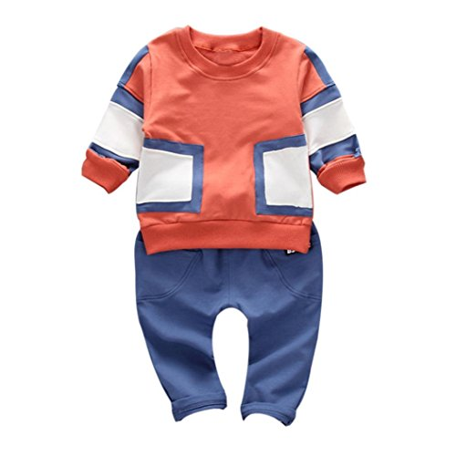 For 1-3 Years old Kids Sets Clothes, Princer Autumn Newborn Infant Boys Toddler Set Tops+Pants Outfits (3T/Height:110CM, Orange)