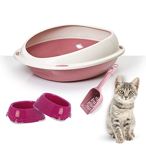 Pink Cat Katzenklo (hoher Rand Cat Katzenklo Bundle + 2Smarty Schalen + Schaufel–Hygeine, Katzentoilette, Kätzchen/Katzen)