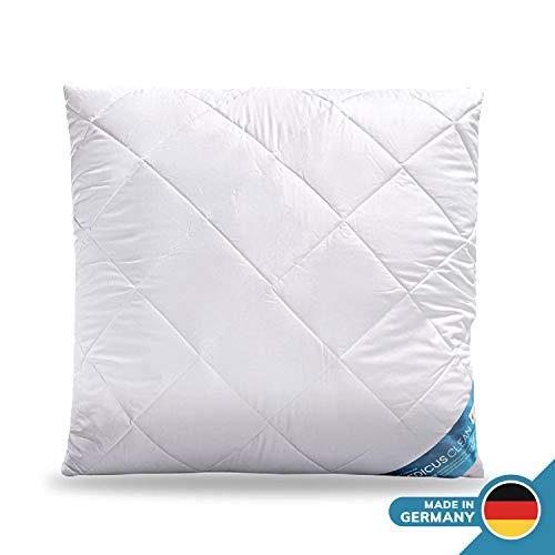 Schlafmond Medicus Clean Allergiker Kopfkissen 80 x 80 cm, Kissen mit anpassbarer Füllmenge, Baumwolle, bis 95 Grad waschbar, Made in Germany