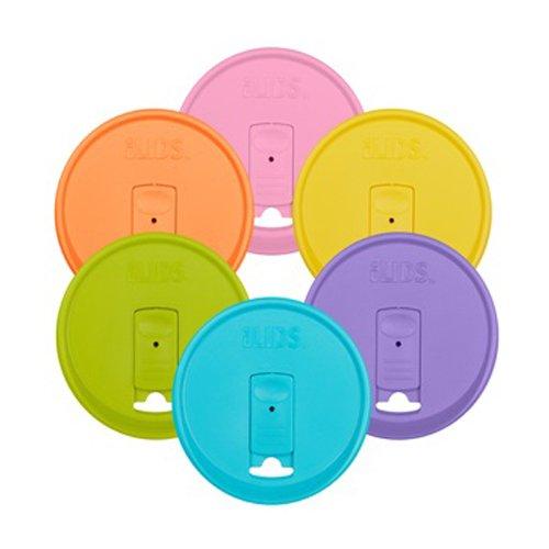 k Deckel, Weithals, plastik, pastellfarben, 6er-Pack ()