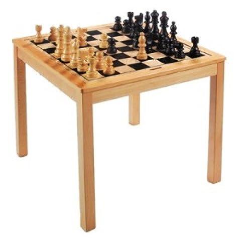 Jouetprive-Table d'échec et de dame en bois massif d'hévéa Louise