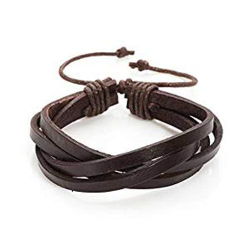Treend24 - Pulsera de piel trenzada para hombre, estilo surfero, estilo Emo Punk, unisex, con cierre de cordón, color marrón