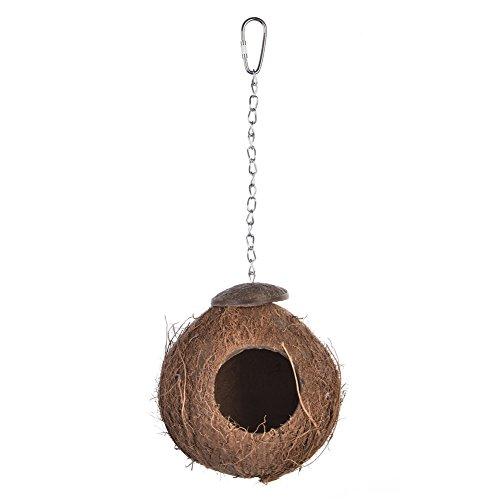 Gorgebuy Natürliche Vogelhäuser Hölzerne Kokosnuss-Shell-Seil-Leiter Vogel-Nest Birdcage für Papageien-Knospen Cockatiels Ratten Gerbil Mäuse Kleintier-Haus (B) -