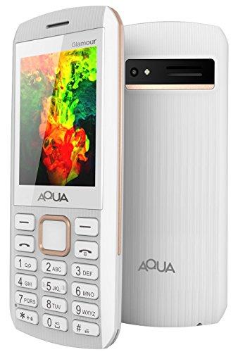 Aqua Glamour - Gorgeous Dual SIM Basic Keypad Mobile Phone with Auto Call Recording Feature - White
