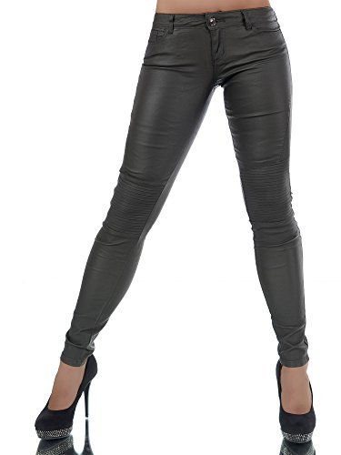 L842 Damen Hose Treggings Leggings Stoffhose Leder-Look Röhrenhose Leggins Anthrazit