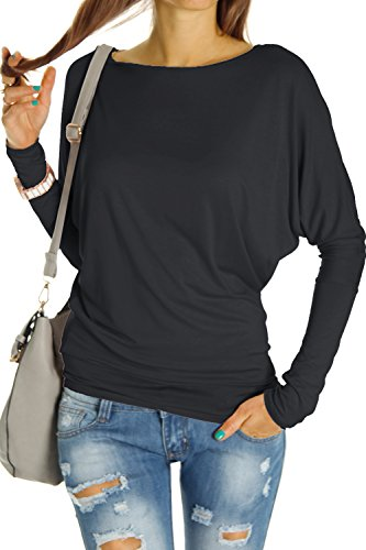 Bestyledberlin Damen Top Shirts, Longshirt Oberteil Langarmshirt Fledermaus langarm t67p, Schwarz, Gr. One Size/S-M (Royal Sweatshirt Klassisches Blue)