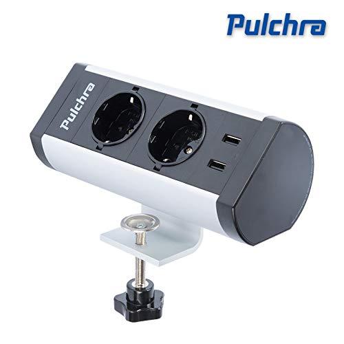 Pulchra Tischsteckdose 2 Fach horizontale Tischsteckdosenleiste Mehrfachsteckdose mit 2 USB-Anschlüsse, Steckdosenleiste mit 1,5m Anschlusskabel, für Büro(2 Socket, 2 USB, New)