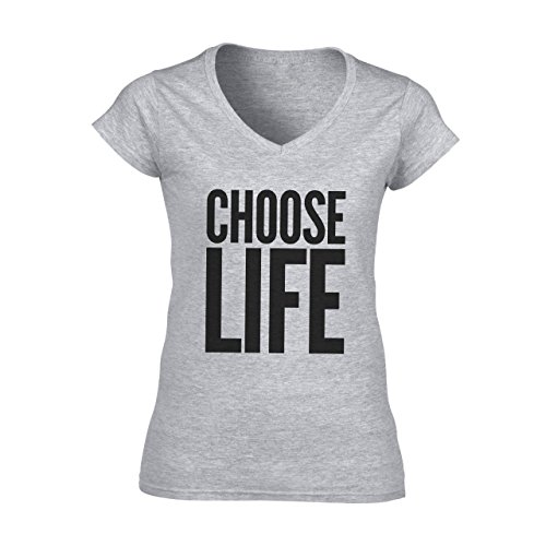 Choose Life Logo Damen V-Neck T-Shirt Grau