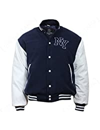 NY Baseball Veste avec Patch Bleu marine/blanc