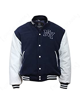 NY Chaqueta de Béisbol M. Patch, color Azul Marino/Blanco, azul marino, large