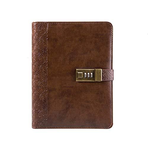 ess Retro Notebook Schreibwaren Buch Tagebuch Einfache Gürtelschnalle Notizblock Geschenkbox Große Besprechung Aufzeichnen Diese Studie Notebook (Color : Brown) ()