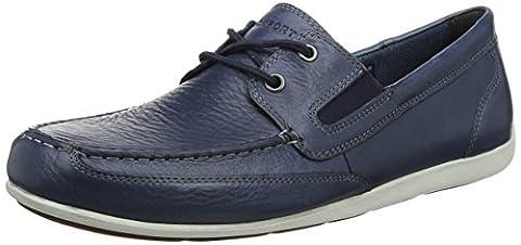 Rockport Bennett Lane 4 Boat Shoe, flâneurs homme - Blue (new Dress Blue Leather), 44.5 EU