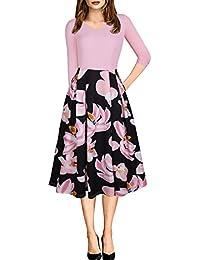 JOTHIN 2018 Kleid Damen Sommer Elegant Schrägstrich Lässige Party A-Linie  Kleider Blumen Drucken Abendkleider 4ab0d8d7c5