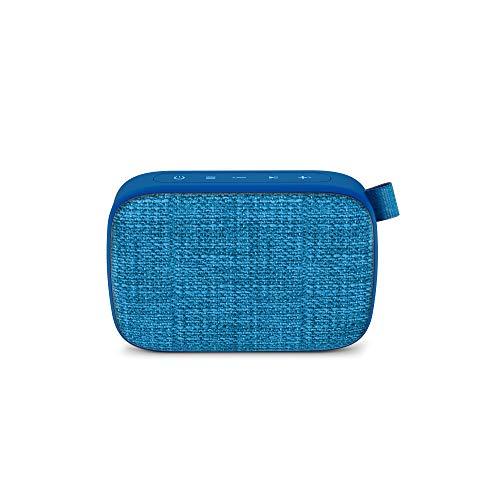 Energy Fabric Box 1+ Pocket Blueberry - Altavoz portátil (TWS, Bluetooth v5.0, 3W, USB&microSD MP3, FM Radio, Audio-In), Color Azul