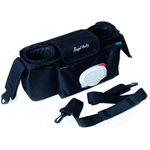 Bolsa Angel Baby organizadora de pañales para carrito con asa bandolera y bolsillo para toallitas - Universal con dos departamentos aislados y un bolsillo con cremallera trasero para los accesorios del carrito. (25.5in. X