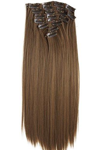PRETTYSHOP XXL 60cm 8 teiliges SET Clip In Extensions Haarverlängerung Haarteil hitzebeständig glattmittelbraun 6 CES3