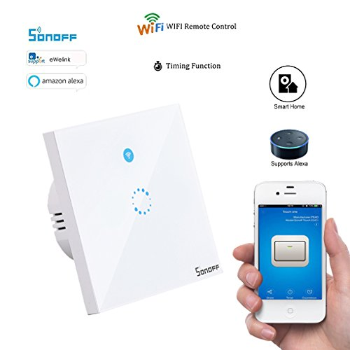 Sonoff T1 Smart WiFi RF/APP/Touch Control Wandleuchte Schalter Touchscreen mit Wireless Remote Controller 1 Gang 86 Typ Panel Wand Touch LED Lichtschalter Smart Home