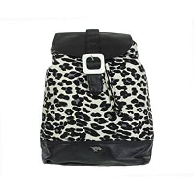 Multicoloured leopard print buckle trim backpack