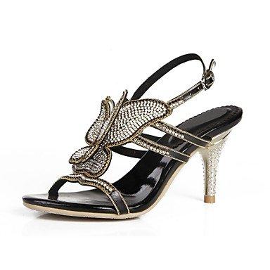 Sanmulyh Chaussures Femme Polyuréthane Printemps Été Mode Bottes Sandales Open Toe Strass Cristal Scintillant Boucle Glitter Pour Party & Soirée Noir
