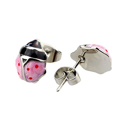 Beads Hunter Jewelry Boucles d'Oreilles Clous femmes émail coloré coccinelles Boucles d'oreilles fille Rose