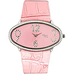 Moog Paris - Egg - Women's Watch with pink dial, pink strap in genuine calf leather - - Made in France - M44142-009