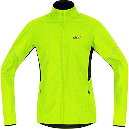 GORE Uninterrupted WEAR Herren Warme Laufjacke, Leicht, GORE WINDSTOPPER, ESSENTIAL WS AS Partial Jacket, Größe XL, Neongelb/ Schwarz, JWESNO