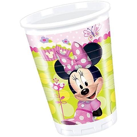 Procos 81643 - Bicchieri Plastica Minnie Bow Tique (200 ml), 8 Pezzi, Rosa/Verde - Mouse Bow