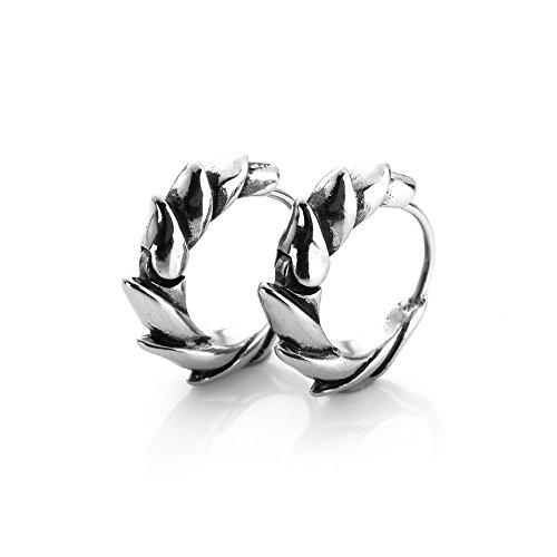 MENDINO - un par de Pendientes para hombre, guays, redondos, tipo dragón, de plata, con acero inoxidable