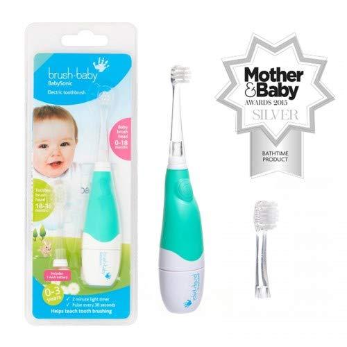 Brush-Baby BabySonic Elektrische Zahnbürste für Babys & Kleinkinder | Erste Zähne | 0-36 Monate | LED-Licht, weiche Vibrationen, 2-Min.-Timer & Saugfuß | Inklusive 2 Bürstenköpfe & 1 AAA-Batterie