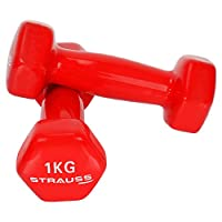 STRAUSS Unisex Adult ST-1516 Vinyl Dumbbell - Red, 2 x 1 kg