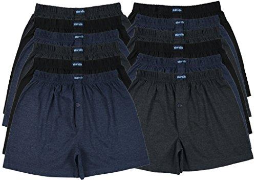 Boxershorts farbig weich & locker in neutralen Farben klassischen Unifarben Herren Boxershort, 12 Stück, M-5 ()