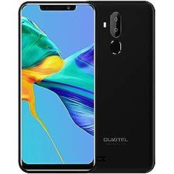"OUKITEL C12 Smartphone, 6.18"" 3G Teléfono Móvil, 19:9 Android 8.1 Quad Core 2GB+16GB, Cámara 8MP+2MP & 5MP, Reconocimiento Facial, Sensor de Huella Dactilar, Negro"