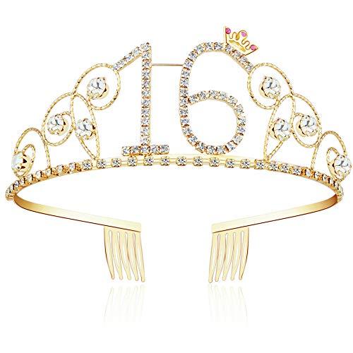 ArtiDeco Kristall Geburtstag Tiara Gold Birthday Crown Prinzessin Kronen Haar-Zusätze Gold Diamante Glücklicher 16/18/20/21/30/40/50/60/70/80/90/100 Geburtstag (16 Jahre alt)