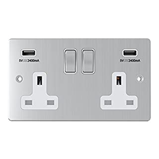 AET USBFSC2GSOCWC Satin Chrome Flat 2 Gang w Charging Ports White Insert Metal Rocker Switches-13 Amp Double Plug Socket & Dual USB Power Outlet