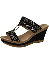 439d3ef5f Cushion Walk Ladies Leather Lined Peep Toe Mid Wedge Heel Slip On Mules  Sandals Size 3