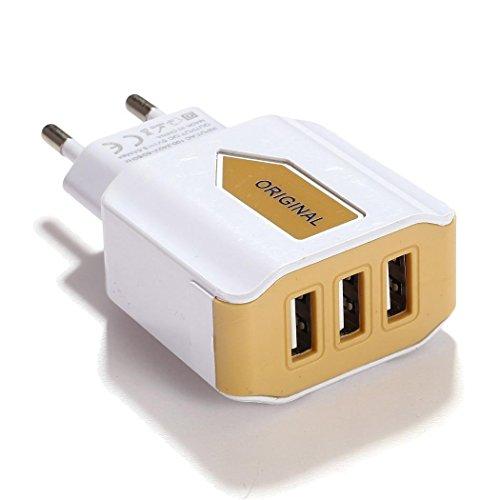 LIOPIO 3-Fach USB Port Wandadapter AC Ladegerät Adapter Home Travel Wall Charger für EU Stecker, gelb, 3 Ports Eu Usb Wall Charger