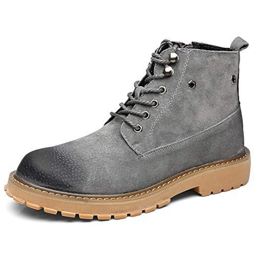 SHANGWU Sicherheits-Zehen-Stiefel-Männer Premium-Leder-weiche Zehe-leichte Industrielle BAU-MOC-Arbeits-Stiefel, Die Isoliert Werden (Farbe : Grau, Größe : 42) Eye Moc