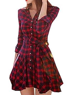 Verano Mujer Fashion Vendajes Vestido de Cuadros Corto Vestidos de Vacaciones Partido Cóctel Fiesta Sexy Cuello...