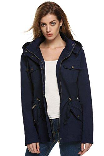 6154424a2956 ACEVOG Damen Übergangs-Jacke Winterjacke Trenchcoat Baumwoll Kapuzejacke  Parka Winter Mantel Winddicht Outwear mit Kunst