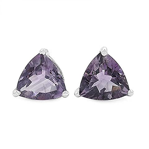 Jewelry-Schmidt-Earrings / Studs Trillion (triangles)-Amethyst-925-2-carat rhodium plated