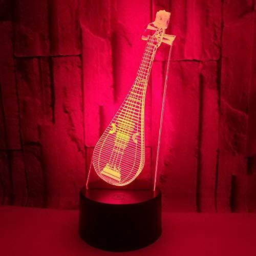 Startseite Dekorative Beleuchtung Kabel Musikinstrumente Lautenförmige 3D LED USB Geschenke Schlafzimmer Nachtlicht Multicolor Tischlampe