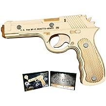 HWQ 3D Modelo de Madera Puzzle Set, DIY Tridimensional Puzzle, Pistola de Juguete,
