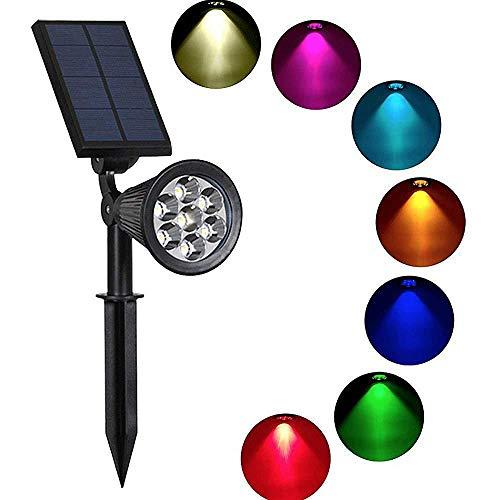NWHEBET Solar-Landschaftsstrahler, 7 LEDs, wasserdicht, solarbetrieben, für den Außenbereich