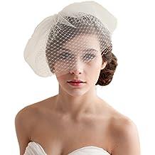 e97b3ae1ec YAZILIND Tocado de boda Elegante Velo de novia blanco Tul velo neto Velo  corto con peine
