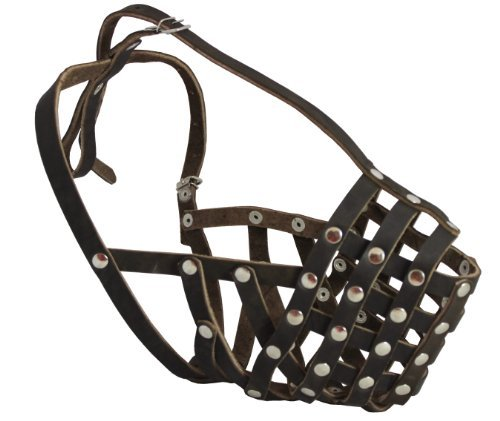 Secure Leather Mesh Basket Muzzle – Rottweiler Male(Circumference 14.5″, Snout Length 3.5″)