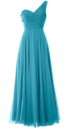 MACloth Women One Shoulder Long Bridesmaid Dress Wedding Party Evening Gown Turquoise