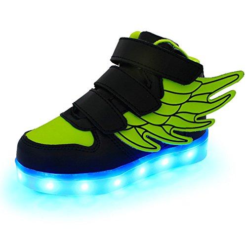 Fortuning's JDS Unisexe Enfant LED éclairé clignotant Sneakers USB Chargeur lumineux Chaussures filature Chaussures avec des ailes noir vert
