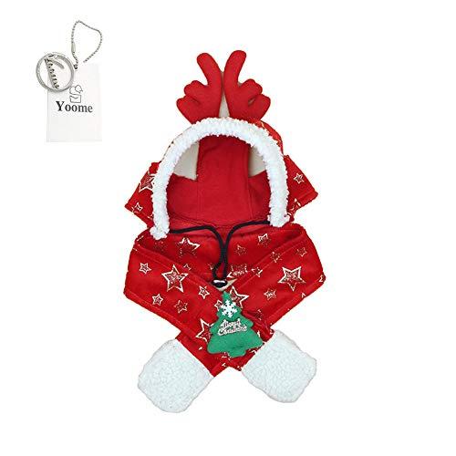 (Yoome Tierkostüm Zubehör Weihnachten Rentier Schal und Mütze Set für kleine, mittelgroße Hunde)