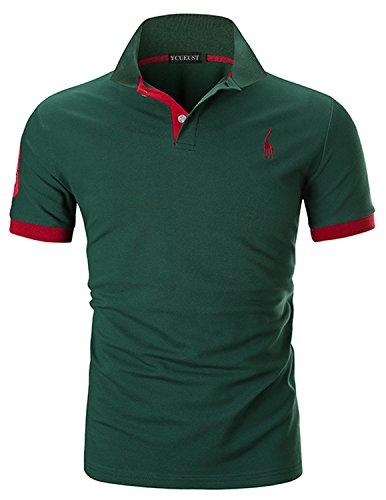 YCUEUST Nummer 3 Poloshirts Herren Kurzarm Kontrast Polohemd Polo Shirts Regular Fit Grün EU XL
