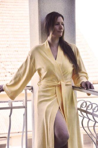 leichter mittellanger Framsohn Reisebademantel / Morgenmantel Jersey Damen Sommer Bademantel wählbar in weiß, rot, blau oder gelb 001 Weiß